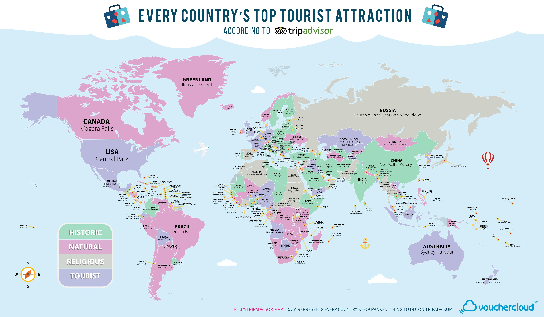 El mapamundi de las atracciones tursticas ms valoradas de cada