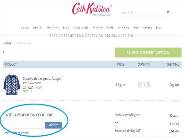How to use Cath Kidston discount code