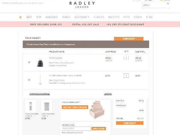You can even browse the Radley blog section to get some inspiration and see what's trending on the streets of London. Claim the latest Radley coupons for great savings opportunities on a wide range of designer-quality styles. This company can also make your purchase extra special with personalized initials and a leather charm.