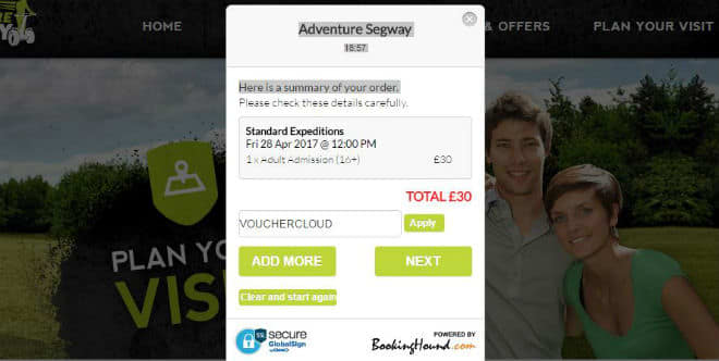 Adventure Segway payment screen