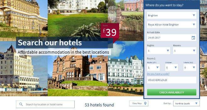 Britannia Hotels voucher window