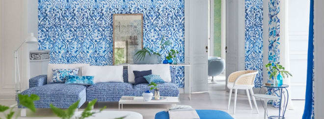 Designers Guild blue furnishings