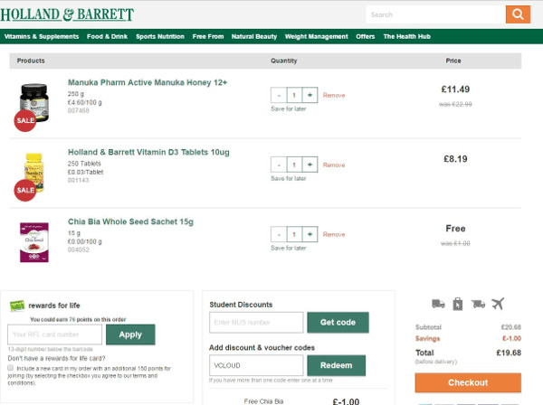 Holland and Barrett discount