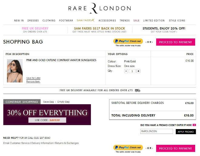 Rare London promo code