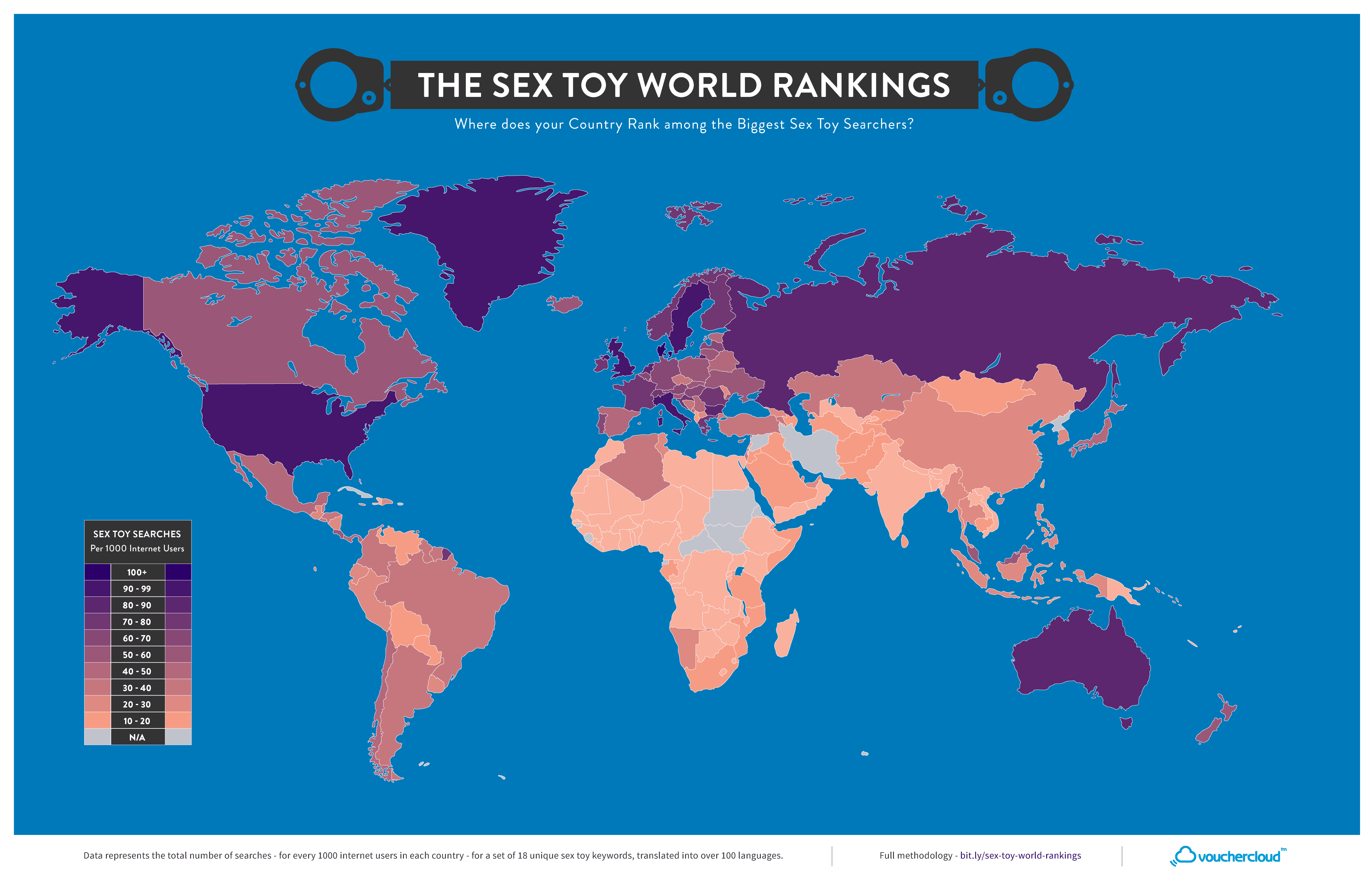 Sex Toy World Rankings - Map (minus labels)