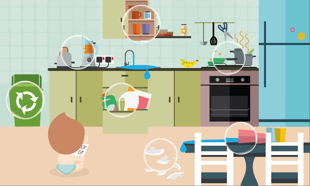 Kitchen hazards to children
