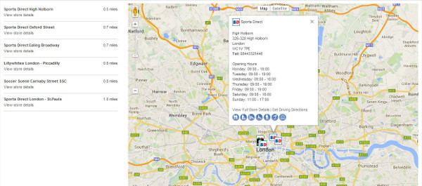 sports direct store map