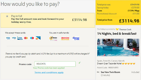 thomas cook voucher discounts