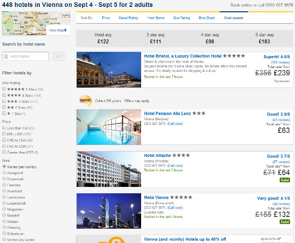 expedia hotel search results