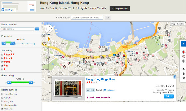 hotels.com map search