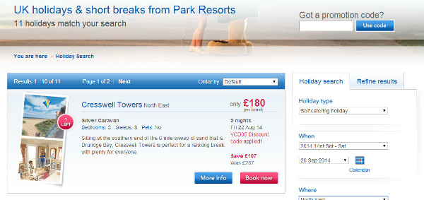 park resorts discount code