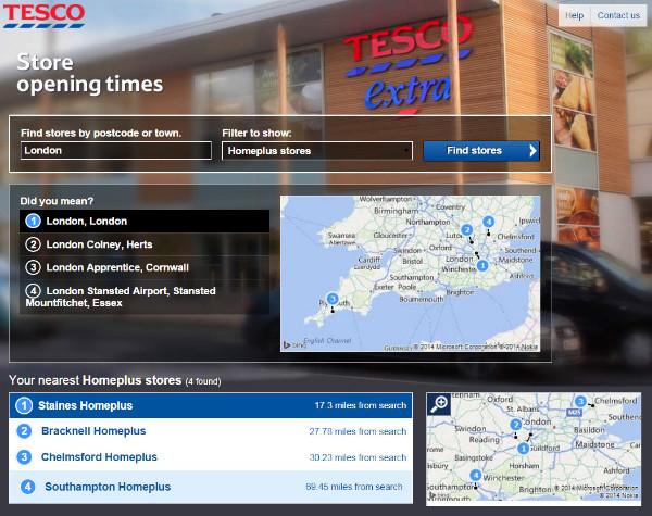 Tesco Direct Store Locator
