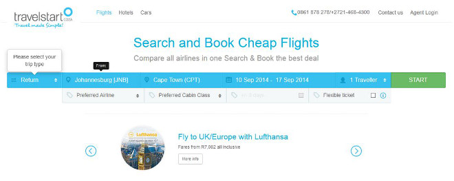 Travelstart flight booking step 1