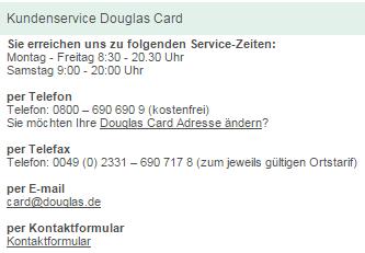 douglas card adresse