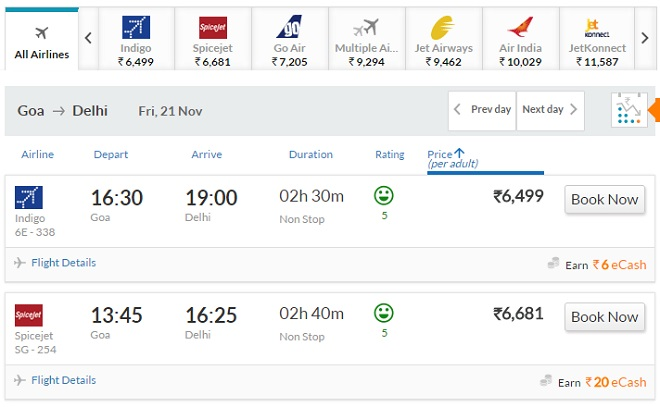 Booking Flights on Yatra