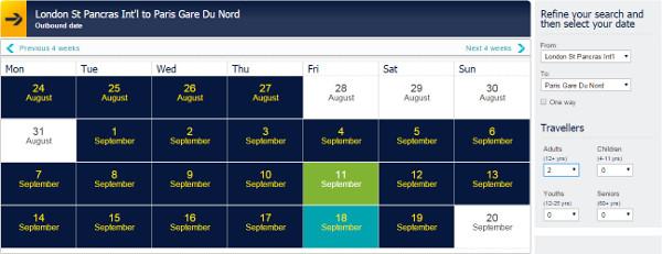 Eurostar train calendar