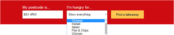 Just eat ordering